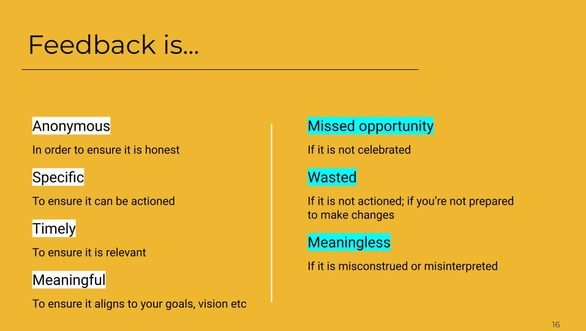 A slide about quality of feedback